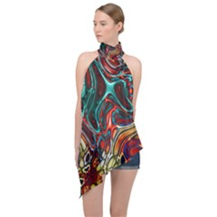 Abstract Art Stained Glass Halter Asymmetric Satin Top by Jojostore