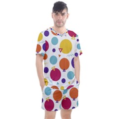 Background Polka Dot Men s Mesh Tee And Shorts Set by Jojostore