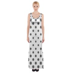 Circle Dot Pattern Dotted Maxi Thigh Split Dress by Jojostore