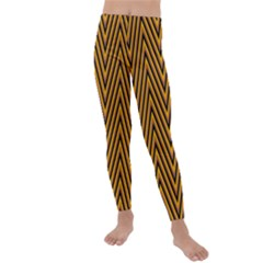 Chevron Brown Retro Vintage Kids  Lightweight Velour Leggings by Jojostore