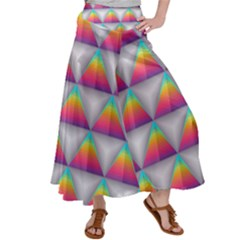Colorful Triangle Satin Palazzo Pants by AnjaniArt