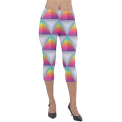 Colorful Triangle Lightweight Velour Capri Leggings  by AnjaniArt
