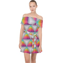Colorful Triangle Off Shoulder Chiffon Dress