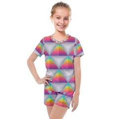 Colorful Triangle Kids  Mesh Tee And Shorts Set by AnjaniArt