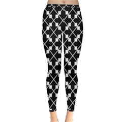 Black Background Arrow Inside Out Leggings by AnjaniArt