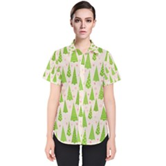Christmas Green Tree Women s Short Sleeve Shirt by AnjaniArt
