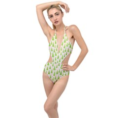 Christmas Green Tree Plunging Cut Out Swimsuit