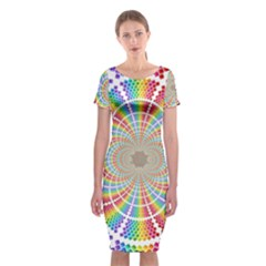 Color Background Structure Lines Rainbow Classic Short Sleeve Midi Dress by AnjaniArt