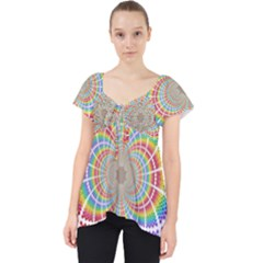 Color Background Structure Lines Rainbow Lace Front Dolly Top