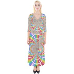 Color Background Structure Lines Rainbow Quarter Sleeve Wrap Maxi Dress by AnjaniArt