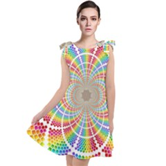 Color Background Structure Lines Rainbow Tie Up Tunic Dress by AnjaniArt