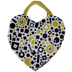 Black Versus Ceylon Yellow  Giant Heart Shaped Tote by TimelessFashion