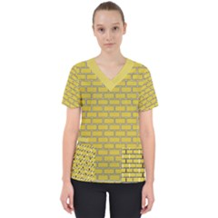 Brick Wall  Women s V Neck Scrub Top by TimelessFashion