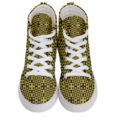 Ceylon Yellow Blocks Women s Hi Top Skate Sneakers