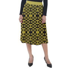 Ceylon Yellow Blocks Classic Velour Midi Skirt