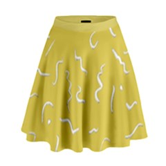 Ceylon Yellow Scribbles High Waist Skirt by TimelessFashion