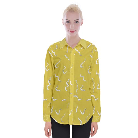Ceylon Yellow Scribbles Womens Long Sleeve Shirt by TimelessFashion