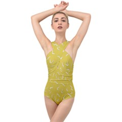 Ceylon Yellow Scribbles Cross Front Low Back Swimsuit by TimelessFashion
