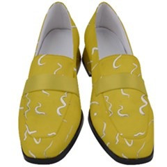 Ceylon Yellow Scribbles Women s Chunky Heel Loafers
