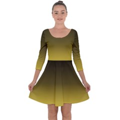 Ceylon Yellow To Black Quarter Sleeve Skater Dress