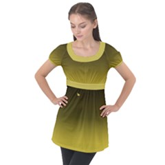 Ceylon Yellow To Black Puff Sleeve Tunic Top by TimelessFashion