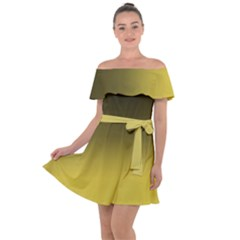 Ceylon Yellow To Black Off Shoulder Velour Dress by TimelessFashion