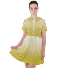 Ceylon Yellow To White  Short Sleeve Shoulder Cut Out Dress  by TimelessFashion