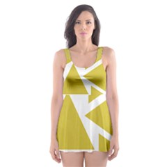 Ceylon Yellow Triangles Skater Dress Swimsuit by TimelessFashion