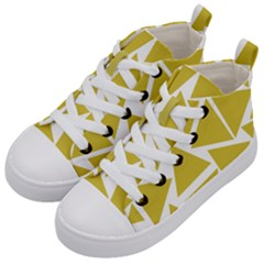 Ceylon Yellow Triangles Kids  Mid-top Canvas Sneakers by TimelessFashion