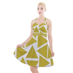 Ceylon Yellow Triangles Halter Party Swing Dress