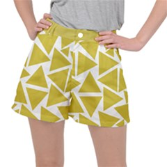 Ceylon Yellow Triangles Stretch Ripstop Shorts by TimelessFashion