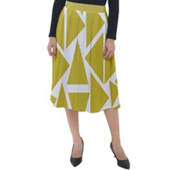 Ceylon Yellow Triangles Classic Velour Midi Skirt