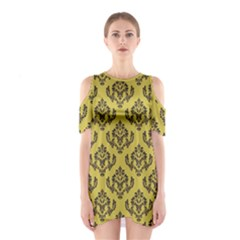 Damask Black On Ceylon Yellow  Shoulder Cutout One Piece Dress by TimelessFashion