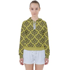 Damask Black On Ceylon Yellow  Women s Tie Up Sweat by TimelessFashion