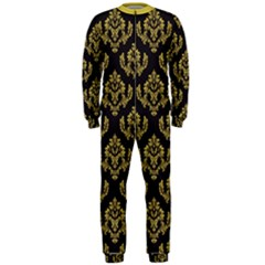 Damask Ceylon Yellow On Black Onepiece Jumpsuit (men)  by TimelessFashion