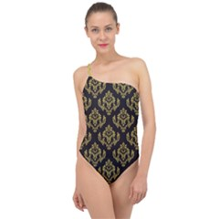 Damask Ceylon Yellow On Black Classic One Shoulder Swimsuit by TimelessFashion