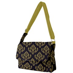 Damask Ceylon Yellow On Black Full Print Messenger Bag