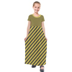 Diagonal Stripes    Kids  Short Sleeve Maxi Dress by TimelessFashion
