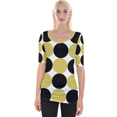 Dots Effect  Wide Neckline Tee by TimelessFashion