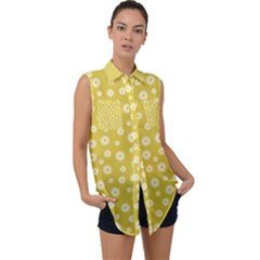 Field Of Daisies  Sleeveless Chiffon Button Shirt by TimelessFashion