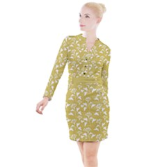 Floral Ceylon Yellow  Button Long Sleeve Dress by TimelessFashion