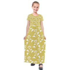 Floral Ceylon Yellow  Kids  Short Sleeve Maxi Dress by TimelessFashion