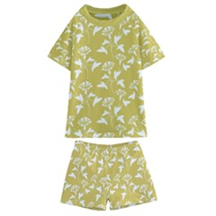 Floral Ceylon Yellow  Kids  Swim Tee And Shorts Set