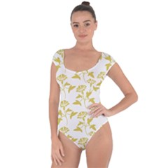 Floral In Ceylon Yellow Short Sleeve Leotard