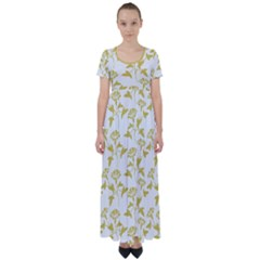 Floral In Ceylon Yellow High Waist Short Sleeve Maxi Dress by TimelessFashion