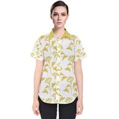 Floral In Ceylon Yellow Women s Short Sleeve Shirt by TimelessFashion