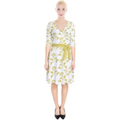 Floral In Ceylon Yellow Wrap Up Cocktail Dress by TimelessFashion