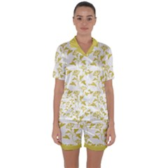 Floral In Ceylon Yellow Satin Short Sleeve Pyjamas Set by TimelessFashion