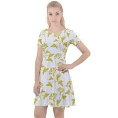 Floral In Ceylon Yellow Cap Sleeve Velour Dress  by TimelessFashion