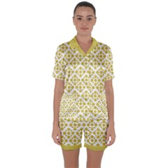 Floral Dot Series   Ceylon Yellow And White  Satin Short Sleeve Pyjamas Set by TimelessFashion
